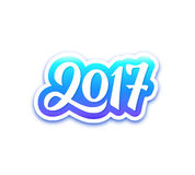 Happy New Year 2017 vector greeting card. New Year 2017 paper label with calligraphic number isolated on white background. Vector greeting card design template Royalty Free Stock Photo
