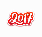 Happy New Year 2017 vector greeting card. New Year 2017 paper label with calligraphic number isolated on white background. Vector greeting card design template Stock Photo