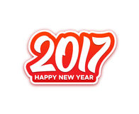 Happy New Year 2017 vector greeting card. Happy New Year 2017 paper label with typography isolated on white background. Vector greeting card design template for Stock Photo