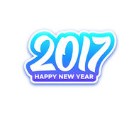 Happy New Year 2017 vector greeting card. Happy New Year 2017 paper label with typography  on white background. Vector greeting card design template for winter Royalty Free Stock Image