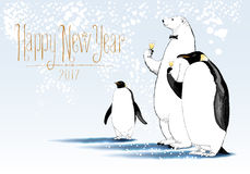 Happy New Year 2017 vector greeting card. Party of penguin, polar bear characters drinking glass of champagne funny illustration. Design element with Happy New Royalty Free Stock Photo