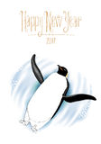 Happy New Year vector greeting card with penguin Royalty Free Stock Photography
