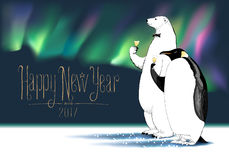 Happy New Year 2017 vector greeting card. Penguin, polar bear characters drinking glass of champagne, Northern lights on background, at a New Year party funny vector illustration