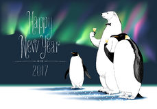 Happy New Year 2017 vector greeting card Stock Photo