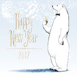 Happy new year 2017 vector greeting card. Polar bear with bowtie character drinking glass of champagne funny nonstandard illustration. Design element with royalty free illustration