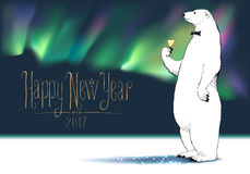Happy new year 2017 vector greeting card. Polar bear character drinking glass of champagne, Northern lights on background funny illustration. Design element vector illustration