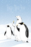 Happy new year 2017 vector greeting card. Polar bear and penguins drinking champagne funny nonstandard illustration. Design element with Happy New Year hand Royalty Free Stock Photo