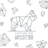 Happy New Year 2018. Vector greeting card, poster, banner with geometric outline dog modern symbol. Stock Image