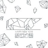 Happy New Year 2018. Vector greeting card, poster, banner with outline dog modern symbol. Chinese calendar decoration. Stock Photography