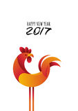 Happy New Year 2017. Vector greeting card, poster, banner with red rooster modern symbol of 2017 and calligraphy. Chinese calendar decoration. Red cock Stock Photography