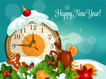 Happy New Year vector greeting card Royalty Free Stock Image