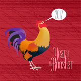 Happy New Year vector greeting card. Seasonal holiday design element with isoloated rooster, cock and 2017 sign in bubble Royalty Free Stock Image