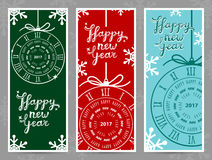 Happy New Year 2017 vector greeting cards Royalty Free Stock Photos