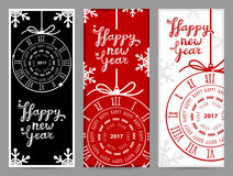 Happy New Year 2017 vector greeting cards. Happy New Year 2017 greeting cards, vector illustration Royalty Free Stock Photos