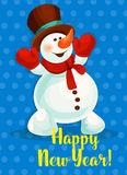 Happy New Year vector greeting poster. Snowman Royalty Free Stock Photography