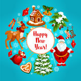 Happy New Year vector greeting poster Stock Photo