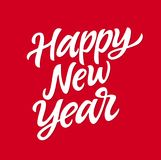 Happy New Year - vector hand drawn brush pen lettering. Design on red background. High quality calligraphy for banner, flyer, card, invitation. Annual winter Stock Image