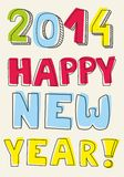 Happy New Year 2014 vector hand drawn colorful wis Royalty Free Stock Photo