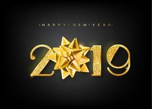 2019 Happy new year. Vector 2019 Happy New Year background with golden gift bow. Vector 10 EPS. 2019 Happy new year. Vector 2019 Happy New Year background with Vector Illustration