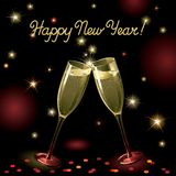 Happy new year!. Vector holiday background with two Champagne Flutes, many stars, fireworks on night dark sky and text Stock Image