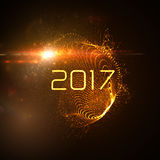Happy New 2017 Year. Vector holiday illustration of glowing neon 2017 sign with shiny abstract distorted sphere and optical light effect with particles Royalty Free Stock Images