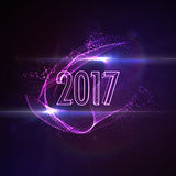 Happy New 2017 Year. Vector holiday illustration of glowing neon 2017 sign with shiny abstract energy shape and optical light effect with particles Stock Photography