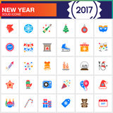 Happy New Year vector icons set, modern solid symbol collection,. Filled pictogram pack isolated on white, colorful logo illustration Royalty Free Illustration