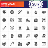 Happy New Year vector icons set, modern solid symbol collection,. Filled pictogram pack  on white, logo illustration Stock Illustration
