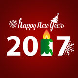 Happy new year 2017, vector illustration.  Royalty Free Stock Image