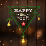 Happy New Year 05 A. Vector illustration of beautiful background with handmade lighting garland and a New Year typography. Useful for postcards, posters, prints vector illustration