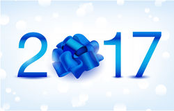 Happy New Year vector illustration. Blue 2017 numbers. With silk present bow Stock Photography