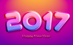 Happy new year 2017 vector illustration. Happy new year 2017 calendar cover, typographic vector illustration Royalty Free Stock Photo