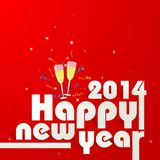 Happy New Year 2014. Vector illustration of Happy New Year 2014 with Champagne Glass Royalty Free Stock Images