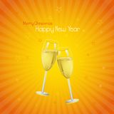 Happy New Year 2014. Vector illustration of Happy New Year 2014 with Champagne Glass Stock Image