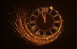 Happy New Year 2020. Vector illustration Christmas background with clock showing year Royalty Free Stock Photos