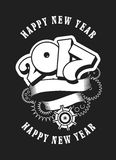Happy new year 2017. Vector illustration Christmas card with the number of years entwined banner and rotating mechanical parts black and white royalty free illustration