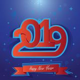 Happy New Year 2019. Vector illustration for Christmas holydays. Happy New Year lettering on blue background stock illustration