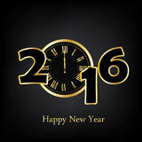 Happy New Year. Vector illustration 2016 Happy New Year with clock greeting card Royalty Free Stock Photo