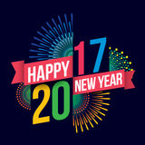 Happy new year 2017. Vector illustration of Colorful fireworks. Happy new year 2017 theme vector illustration