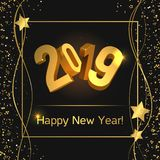 Happy New Year 2019. 2019 Happy New Year, vector illustration. 3d figures 2019. Golden glitter, confetti, sparkles and stars. Dark background. Design concept for vector illustration