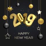 Happy New Year 2019. 2019 Happy New Year, vector illustration. 3d figures 2019. Golden glitter, sparkles and christmas decorations. Dark background. Design vector illustration