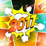 Happy new year vector illustration. Decorative background for celebration of 2017 with bomb explosive in pop art style. Abstract lights backdrop Royalty Free Illustration