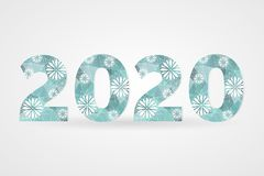 2020 Happy New Year vector illustration. Decorative polygonal sign with snowflakes. Blue and white geometric decoration. 2020 Happy New Year vector illustration Royalty Free Stock Image