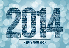 2014, happy new year. Vector illustration of 2014 with Happy New Year in different languages Vector Illustration