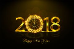 Happy New Year 2017. Vector illustration with gold clock. Happy New Year 2018. Background with golden sparkling texture. Vector illustration with gold clock stock illustration