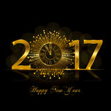 Happy New Year 2017. Vector illustration with gold clock Stock Image