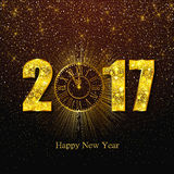 Happy New Year 2017. Vector illustration with gold clock Stock Photos