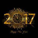 Happy New Year 2017. Vector illustration with gold clock Royalty Free Stock Photos