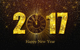 Happy New Year 2017. Vector illustration with gold clock Stock Photo