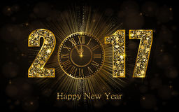 Happy New Year 2017. Vector illustration with gold clock Stock Images